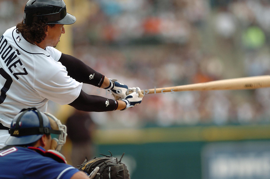 MAGGLIO ORDONEZ, of the  Detroit Tigers, in action during the Tigers  game against the Texas Rangers  in Detroit,  MI, on June 28,  2007...Tigers  win 5-2...DAVID DUROCHIK / SPORTPICS.