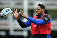 Levi Douglas of Bath Rugby in action during the pre-match warm-up. Gallagher Premiership match, between Bath Rugby and Wasps on May 5, 2019 at the Recreation Ground in Bath, England. Photo by: Patrick Khachfe / Onside Images