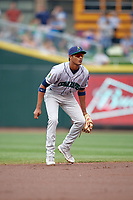 Cedar Rapids Kernels shortstop Jermaine Palacios (4) during a game against the Dayton Dragons on May 10, 2017 at Fifth Third Field in Dayton, Ohio.  Cedar Rapids defeated Dayton 6-5 in ten innings.  (Mike Janes/Four Seam Images)
