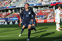 Alfie Mawson of England celebrates scoring the opening England goal during Slovakia Under-21 vs England Under-21, UEFA European Under-21 Championship Football at The Kolporter Arena on 19th June 2017