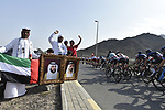 The peloton pass by during Stage 4 of the 2019 UAE Tour, running 197km form The Pointe Palm Jumeirah to Hatta Dam, Dubai, United Arab Emirates. 26th February 2019.<br /> Picture: LaPresse/Fabio Ferrari | Cyclefile<br /> <br /> <br /> All photos usage must carry mandatory copyright credit (© Cyclefile | LaPresse/Fabio Ferrari)