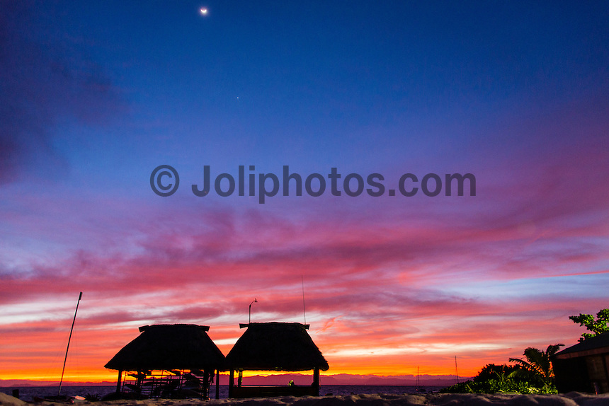 Namotu Island Resort, Namotu, Fiji. (Sunday May 25, 2014) Pre dawn light over the Namotu Island boat shed.–  The Fiji Women's Pro, Stop No. 5 of 10 on the 2014  Women's World Championship Tour (WCT) was called off early today because of small waves and cross shore winds. The next call will be tomorrow at 6.30 am. The event has attracted the world's best female surfers to the world-class waves of Cloudbreak and Restaurants for the recommencement of this season's battle for the world surfing crown. Photo: joliphotos.com