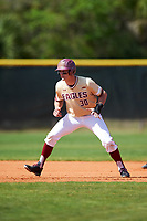 Boston College Eagles right fielder Donovan Casey (30) leads off second base during a game against the Central Michigan Chippewas on March 3, 2017 at North Charlotte Regional Park in Port Charlotte, Florida.  Boston College defeated Central Michigan 5-4.  (Mike Janes/Four Seam Images)