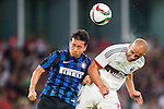 Yuto Nagatomo of FC Internazionale Milano (L) competes for the ball with Alex Rodrigo Dias da Costa of AC Milan (R) during the AC Milan vs FC Internacionale as part of the International Champions Cup 2015 at the looks onnggang Stadium on July 25, 2015 in Shenzhen, China.  Photo by Aitor Alcalde / Power Sport Images