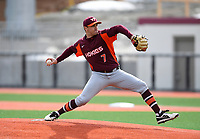 Virgina Tech starting pitcher Connor Coward #7 delivers a pitch in the first inning of an ACC matchup in Boston, MA against the Eagles of Boston College Friday, March 23, 2018