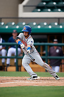 St. Lucie Mets right fielder Arnaldo Berrios (22) squares around to bunt during a game against the Lakeland Flying Tigers on June 11, 2017 at Joker Marchant Stadium in Lakeland, Florida.  Lakeland defeated St. Lucie 1-0.  (Mike Janes/Four Seam Images)