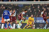 9th March 2020; King Power Stadium, Leicester, Midlands, England; English Premier League Football, Leicester City versus Aston Villa; Pepe Reina of Aston Villa just about manages to clear the ball