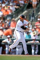 Baltimore Orioles first baseman Chris Davis (19) during a Spring Training game against the Tampa Bay Rays on March 14, 2015 at Ed Smith Stadium in Sarasota, Florida.  Tampa Bay defeated Baltimore 3-2.  (Mike Janes/Four Seam Images)