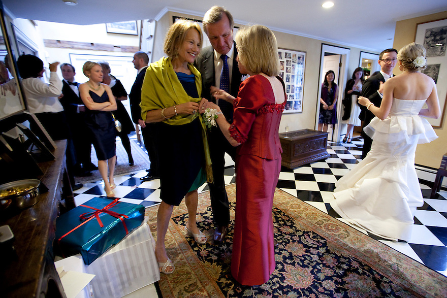 CONCORD, MA.-- October 15, 2011-- Lisa Schmidt and Joel Alvord greet the groom's mother, Doris Kearns Goodwin, at the reception at her Concord home. Victoria Bonney, right, and Joseph Goodwin wed in Concord, Massachusetts. CREDIT: JODI HILTON FOR THE NEW YORK TIMES