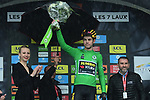Wout Van Aert (BEL) Team Jumbo Visma retains the points Green Jersey at the end of Stage 7 of the Criterium du Dauphine 2019, running 133.5km from Saint-Genix-les-Villages to Les Sept Laux - Pipay, France. 15th June 2019.<br /> Picture: ASO/Alex Broadway | Cyclefile<br /> All photos usage must carry mandatory copyright credit (© Cyclefile | ASO/Alex Broadway)