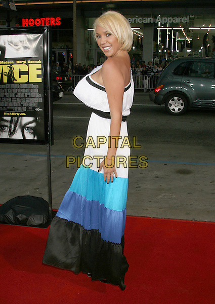 "MARY CAREY.""Vice"" Los Angeles Premiere held at Grauman's Chinese Theatre, Hollywood, California, USA, 7 May 2008..full length white blue black turquoise block colour dress one shoulder.CAP/ADM/RE.©Russ Elliot/Admedia/Capital PIctures"