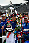 Verizon IndyCar Series<br /> Indianapolis 500 Race<br /> Indianapolis Motor Speedway, Indianapolis, IN USA<br /> Sunday 28 May 2017<br /> Takuma Sato, Michael Andretti Autosport Honda celebrates the win in Victory Lane<br /> World Copyright: Scott R LePage<br /> LAT Images<br /> ref: Digital Image lepage-170528-indy-10659<br /> ref: Digital Image lepage-170528-indy-10794