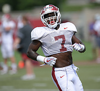 NWA Democrat-Gazette/ANDY SHUPE<br /> Arkansas defensive back Joe Foucha runs Tuesday, Aug. 13, 2019, during practice at the university practice facility in Fayetteville. Visit nwadg.com/photos to see photographs from the practice.