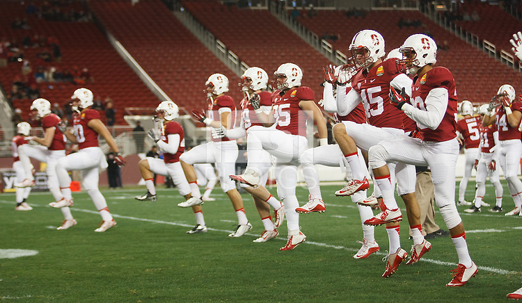 Santa Clara- December 30, 2014: Stanfod plays warm up before the Stanford vs Maryland Foster Farms Bowl at Levi's Stadium in Santa Clara Tuesday night.<br /> <br /> Stanford won 45-21.