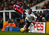 17th March 2018, Craven Cottage, London, England; EFL Championship football, Fulham versus Queens Park Rangers; Jordan Cousins of Queens Park Rangers fouling Floyd Ayite of Fulham