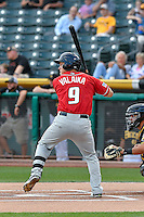Pat Valaika (9) of the Albuquerque Isotopes at bat against the Salt Lake Bees in Pacific Coast League action at Smith's Ballpark on August 30, 2016 in Salt Lake City, Utah. The Bees defeated the Isotopes 3-2. (Stephen Smith/Four Seam Images)