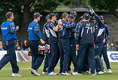 Cricket Scotland - Scotland V Namibia One Day International match at Grange CC today (Thur) - this match is the first of two ODI matches this week against Zimbabwe - Scotland celebrate a wicket - picture by Donald MacLeod - 15.06.2017 - 07702 319 738 - clanmacleod@btinternet.com - www.donald-macleod.com
