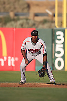 Carlos Belen (35) of the Lake Elsinore Storm in the field at first base during a game against the Lancaster JetHawks at The Hanger on June 14, 2017 in Lancaster, California. Lancaster defeated Lake Elsinore, 4-0. (Larry Goren/Four Seam Images)