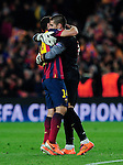 Barcelona. Spain. 12/03/201. football match between fc barcelona and manchester city.<br /> victor valdes and javier mascherano