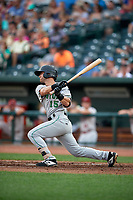 Clinton LumberKings Bubba Hollins (15) at bat during a Midwest League game against the Great Lakes Loons on July 19, 2019 at Dow Diamond in Midland, Michigan.  Clinton defeated Great Lakes 3-2.  (Mike Janes/Four Seam Images)