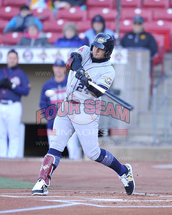 Burlington Bees third baseman Kevin Maitan (24) swings at a pitch against the Cedar Rapids Kernels at Veterans Memorial Stadium on April 13, 2019 in Cedar Rapids, Iowa.  Kernels won 2-1.  (Dennis Hubbard/Four Seam Images)