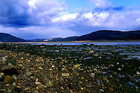 Stoney shore in Sutherland, Scotland, Uk