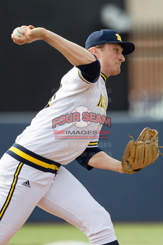 Michigan Wolverines pitcher Jayce Vancena (20) delivers a pitch to the plate against the Toledo Rockets on April 20, 2016 at Ray Fisher Stadium in Ann Arbor, Michigan. Michigan defeated Bowling Green 2-1. (Andrew Woolley/Four Seam Images)
