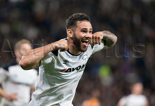 8th September 2017, Pride Park Stadium, Derby, England; EFL Championship football, Derby County versus Hull City; Bradley Johnson of Derby County celebrates after scoring in the 45th minute (4-0)