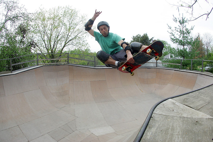 Skateboarding on a wooden ramp. Photos/Andrew Shurtleff