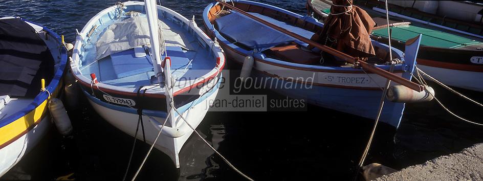 """Europe/Provence-Alpes-Côte d'Azur/83/Var/Saint-Tropez: le port -les """"Pointus"""" bateaux de pêche"""