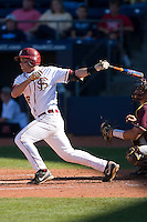 Stephen Cardullo #38 of the Florida State Seminoles follows through on his swing versus the Boston College Eagles at Durham Bulls Athletic Park May 20, 2009 in Durham, North Carolina. (Photo by Brian Westerholt / Four Seam Images)