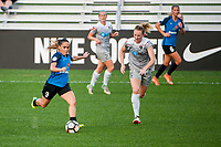 Kansas City, MO - Thursday August 10, 2017: Lo'eau Labonta, Samantha Mewis during a regular season National Women's Soccer League (NWSL) match between FC Kansas City and the North Carolina Courage at Children's Mercy Victory Field.