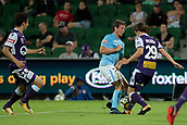 9th January 2018, nib Stadium, Perth, Australia; A League football, Perth Glory versus Melbourne City; Nick Fitzgerald Melbourne City forward and Jeremy Walker of the Perth Glory challenge for the ball during the second half