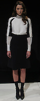 """MONICA (FUSION)- white hand-beaded collar blouse, white/black colorblocked popover blouse, black high-waist A-line skirt, black pointy toe heel with ankle strap"" , Mercedes Benz Fashion Week, Marissa Webb fall/holiday 13, NYC, Feburary 09 2013"
