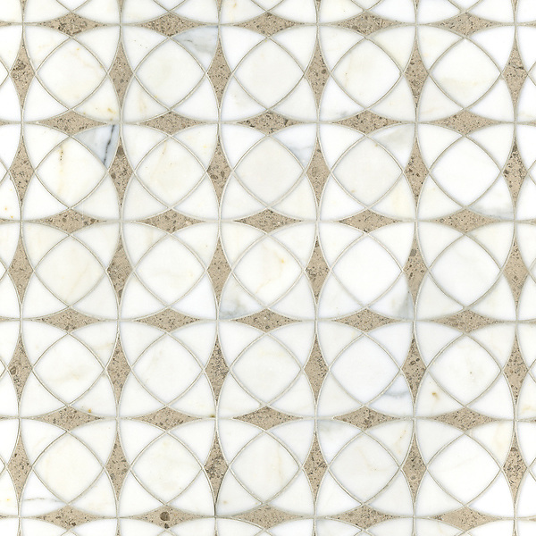 Zazen, a waterjet stone mosaic, shown in polished Calacatta Tia and honed Gascogne Blue, is part of the Miraflores collection by Paul Schatz for New Ravenna.