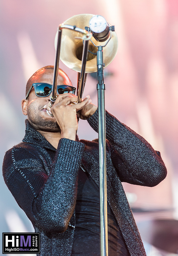Trombone Shorty performs at the 2014 Voodoo Music Experience in New Orleans, LA.