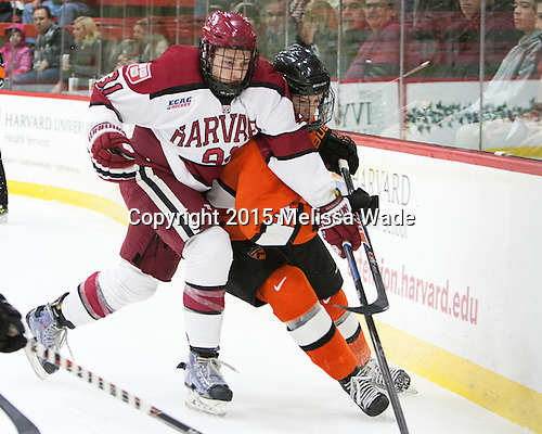Jake Horton (Harvard - 91), Connor McLaren (Princeton - 23) - The Harvard University Crimson defeated the visiting Princeton University Tigers 5-0 on Harvard's senior night on Saturday, February 28, 2015, at Bright-Landry Hockey Center in Boston, Massachusetts.