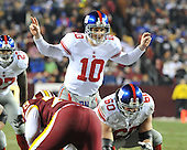 Landover, MD - December 21, 2009 -- New York Giants quarterback Eli Manning (10) calls signals in the second quarter against the Washington Redskins at FedEx Field in Landover, Maryland on Monday, December 21, 2009..Credit: Ron Sachs / CNP.(RESTRICTION: NO New York or New Jersey Newspapers or newspapers within a 75 mile radius of New York City)