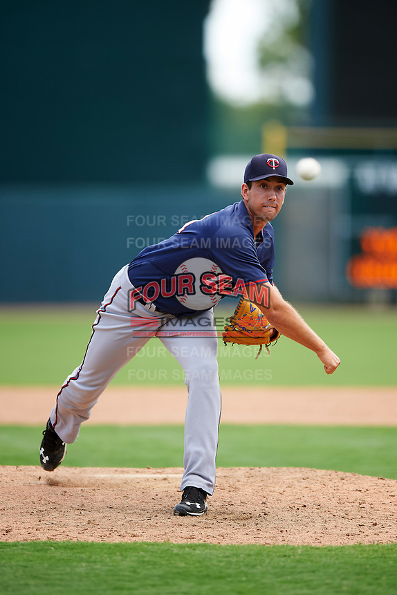 GCL Twins relief pitcher Zach Strecker (81) during a game against the GCL Orioles on August 11, 2016 at the Ed Smith Stadium in Sarasota, Florida.  GCL Twins defeated GCL Orioles 4-3.  (Mike Janes/Four Seam Images)
