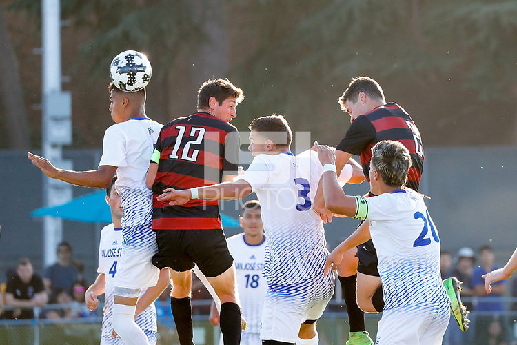San Jose, CA - August 25, 2017:  Stanford Men's Soccer wins its season opener with a 4-0 victory over San Jose State at the Spartan Soccer Complex.