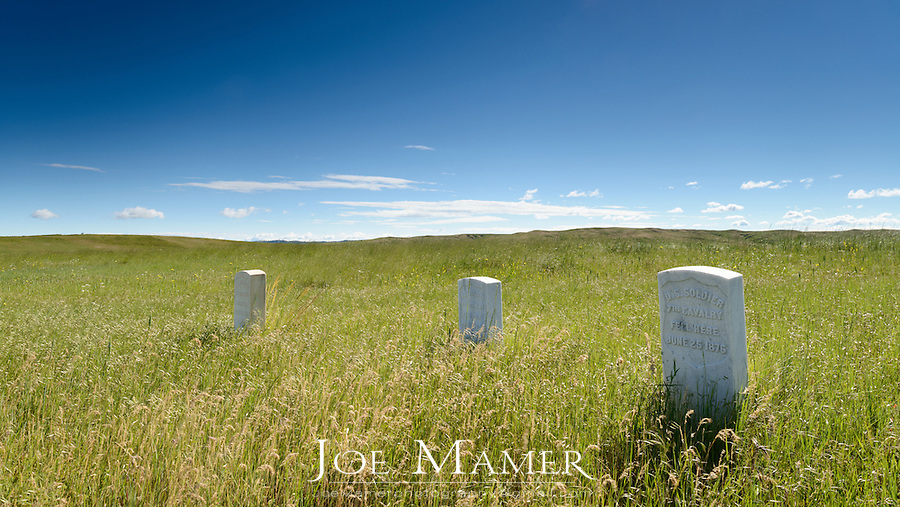 Burial markers at Little Bighorn Battlefield National monument. Little Bighorn Battlefield National Monument preserves the site of the June 25 and 26, 1876, Battle of the Little Bighorn, near Crow Agency, Montana, in the United States. It also serves as a memorial to those who fought in the battle.