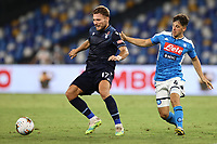 Ciro Immobile of SS Lazio and Diego Demme of SSC Napoli compete for the ball<br /> during the Serie A football match between SSC  Napoli and SS Lazio at stadio San Paolo in Naples ( Italy ), August 01st, 2020. Play resumes behind closed doors following the outbreak of the coronavirus disease. <br /> Photo Cesare Purini / Insidefoto