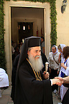 Israel, Jerusalem, the Orthodox Ascension Day ceremony at the Russian Orthodox Church of the Ascension on the Mount of Olives, a visit of the Greek Orthodox patriarch Theophilus III