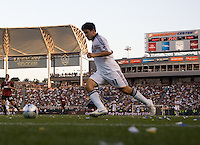 A full crowd fills the stadium as Alecko Eskandarian moves with the ball. AC Milan played the LA Galaxy to a 2-2 tie in an International friendly match at Home Depot Center stadium in Carson, California on Sunday July 19, 2009. .