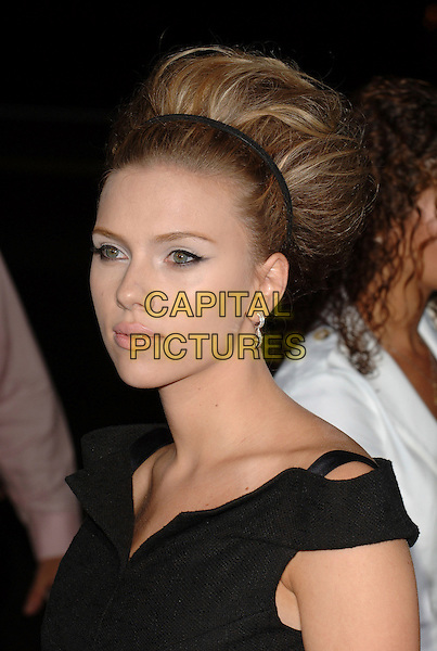 "SCARLETT JOHANSSON.The premiere of ""The Black Dahlia"" at Goldwin Theatre, Hollywood , CA, USA..September 6th, 2006.Ref: MOO.headshot portrait big hair beehive alice band.www.capitalpictures.com.sales@capitalpicturs.com.©Trevor Moore/Capital Pictures."