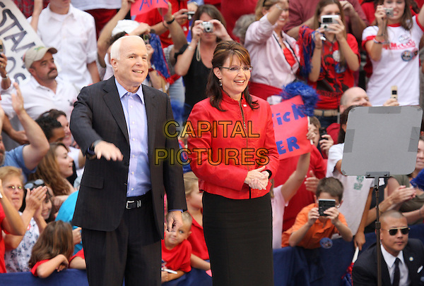 JOHN McCAIN & SARAH PALIN Republican Presidential Candidate John McCain and Vice-Presidential Candidate Gov. Sarah Palin during a Republican Rally held at the Delaware County Courthouse in Media, Pennsylvania, USA, 22 September 2008.American presidential election politics political party  half length glasses red jacket blue shirt black suit pinstripe.CAP/ADM/PZ.©Paul Zimmerman/AdMedia/Capital PIctures