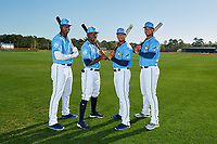 Tampa Bay Rays Jesus Sanchez, Vidal Brujan, Wander Franco, and Ronaldo Hernandez during a Baseball America Photo Shoot on March 9, 2019 at Charlotte Sports Park in Port Charlotte, Florida.  (Mike Janes/Four Seam Images)
