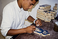 Ceramics, La Marsa, Tunisia.  Painting a Resin Tile in Andalusian Style.