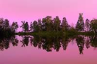 Reflection of trees st sunset<br /> Iles Aux Coudres<br /> Quebec<br /> Canada