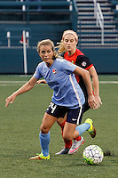 Rochester, NY - Saturday May 21, 2016: Sky Blue FC midfielder Kelly Conheeney (24) is chased by Western New York Flash midfielder Michaela Hahn (2). The Western New York Flash defeated Sky Blue FC 5-2 during a regular season National Women's Soccer League (NWSL) match at Sahlen's Stadium.